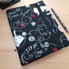 Black and White Cats Notebook Cover with Elastic Closure