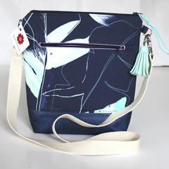 Navy Ettie Ink leaf satchel bag
