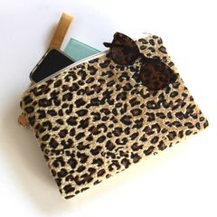 Gold animal print and gold leatherette clutch bag, ipad pouch
