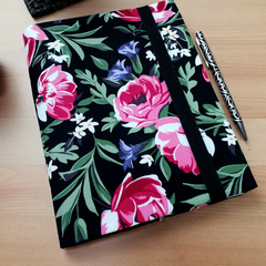 Onyx Roses A5 Journal Cover with Elastic Closure