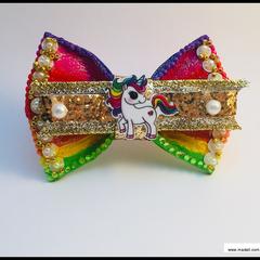 Jojo Siwa Rainbow Unicorn Hair Bow with Barrette Snap Clip