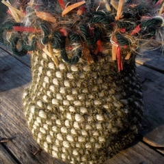 Crocheted vessel made from wool, acrylic and polyester yarns