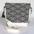 Black and cream satchel bag- Japanese fan print