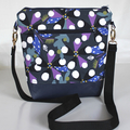 Navy blue and purple modern satchel bag