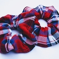 Tartan scrunchie - red blue and white soft cotton in size Large