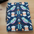 Stitch Birds A5 Journal Cover with Elastic Closure
