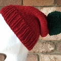 Red beanie ladies small winter hat knitted green PomPom