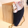 Navy blue and pink magnolia ladies evening clutch bag