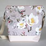 Pink floral sateen satchel bag