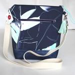 Navy Ettie Ink leaf satchel bag