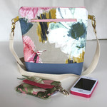 Multi-coloured floral linen satchel bag