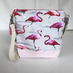 Pink flamingo satchel bag