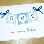 Boys 1st Birthday Card - ONE - personalised!
