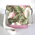 Pink banana leaf print satchel bag
