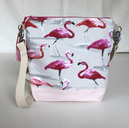 Pink flamingo satchel bag