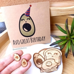 Avocado & Breakfast Lovers Gift Pack / Studs, Brooch & Card / Cute / Free Post