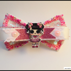Pink LOL Surprise Doll Hair Bow with colour matching Barrette Snap Clip