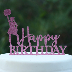 Happy Birthday with Cheer Leader Cake Topper