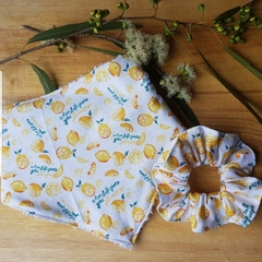 The Healesville Bib in Make Lemonade print.