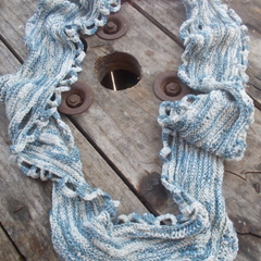 "Summer mobius scarf ""random"" knit finished in crochet 100% cotton"