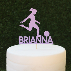 Personalised soccer player cake topper