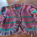 hand knit cardigan or jacket in plum browns and teal, ruffled detail, one of