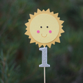 Sun cake topper with number