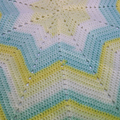 Yellow, Aqua and White Star Blanket