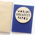 Papau Worlds Greatest card Father's Day wood and paper for him