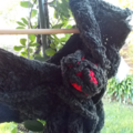 ruffle scarf with crocheted scarf pin. Black ribbon yarn with pure wool 25% OFF!