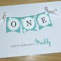 Girls 1st Birthday card -  bunting - ONE