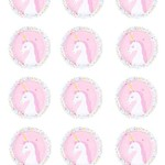 12 x White Unicorn Round 60mm Glossy Stickers