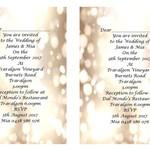 Gold Bokeh Printed Wedding Invitations