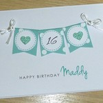 Personalised Age Birthday card - bunting - any age