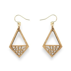 Geometric earrings - dangle earrings - drop earrings- earrings for work - wooden
