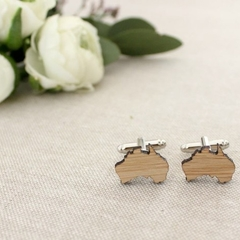 Australia cufflinks, cufflinks for Australian, wooden cufflinks Australia, map o