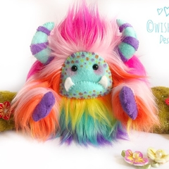 "Rainbow yeti, artist bear, monster plush ""Raindrop"""