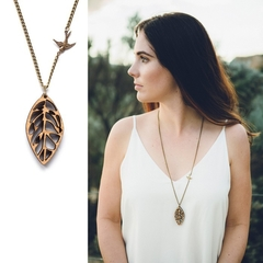 Leaf necklace - wooden leaf pendant jewelry