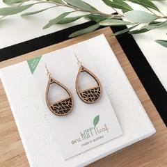 Teardrop earring - dangle earrings - drop earrings - wooden earings - laser cut