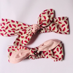Watermelon and pink cotton headband with elastic - adults and kids size