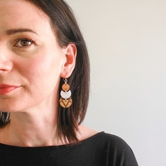 Long dangle earrings - laser cut wooden jewelry - wooden drop earrings