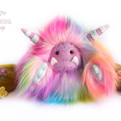 "Rainbow yeti, artist bear, monster plush ""Periwinckle"""