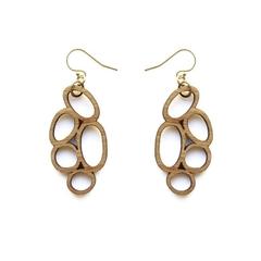 Drop earrings in wood - Abstract dangle earrings - wooden earrings