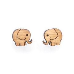 Elephant studs cute earrings - elephant earrings - eco friendly cute wooden elep