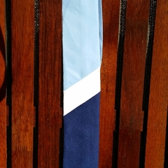 Mens Tie - navy blue, sky blue and white