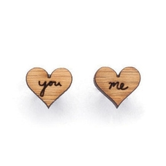 Anniversary gift: Love heart jewelry - eco friendly laser cut wooden earrings