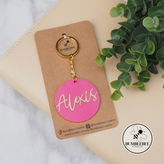 Pink and Gold Personalised Name Keyring Gift Idea. Also avail Purple  & Black