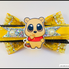 Winnie the Pooh Hair Bow with Barrette Snap Clip.