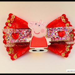 Pepper Pig Hair Bow with Barrette Snap Clip.