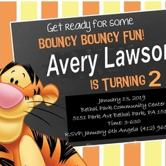 SET OF 12 DISNEY TIGGER INVITATIONS